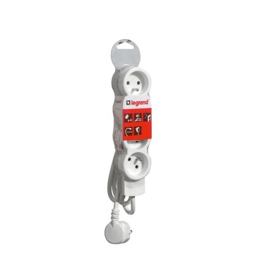 Prodlužovací kabel Legrand 4 zásuvky, 1,5m bílá/šedá 50055
