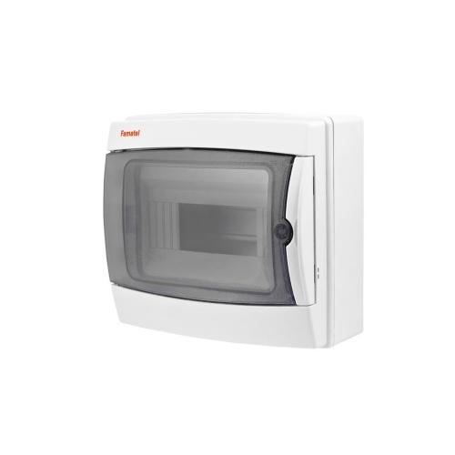 Rozvodnice na omítku Famatel 3908-T průhledné dveře 8M IP65 39081