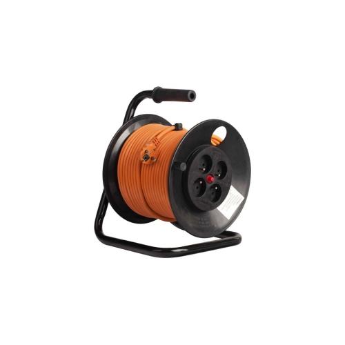 Prodlužovací kabel na bubnu 50m/4zásuvka 3x1,5 černý 392.250F