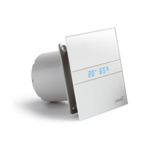 Koupelnový ventilátor s časovým doběhem CATA e100 GTH se skleněným panelem hygrostatem a mikroventilací
