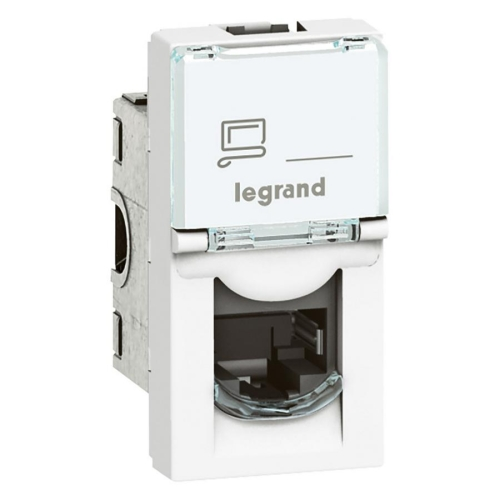 Legrand Mosaic bílá zásuvka RJ45 1M Cat. 6a STP 76573