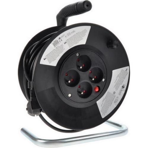 Prodlužovací kabel na bubnu 25m/4zásuvka 3x1,5 černá PB01