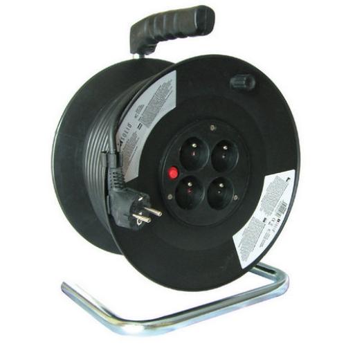 Prodlužovací kabel na bubnu 50m/4zásuvka 3x1,5 černá PB02