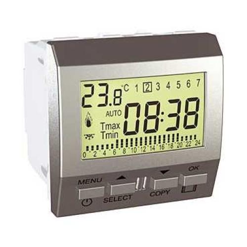 Schneider Unica Top termostat týdenní pro podlahové vytápění MGU3.505.30P alu