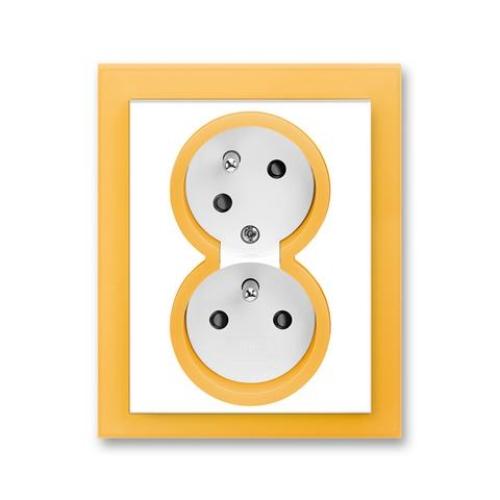 ABB Neo dvojzásuvka bílá/ledová oranžová 5513M-C02357 43 s clonkami