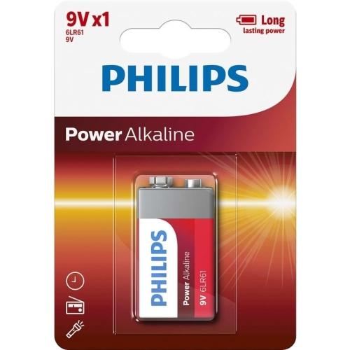 Baterie 9V Philips alkalická Power Alkaline 1ks 6LR61P1B/10
