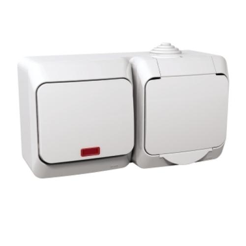 Schneider Cedar Plus zásuvka s vypínačem č.6 orientační doutnavka bílá WDE000585