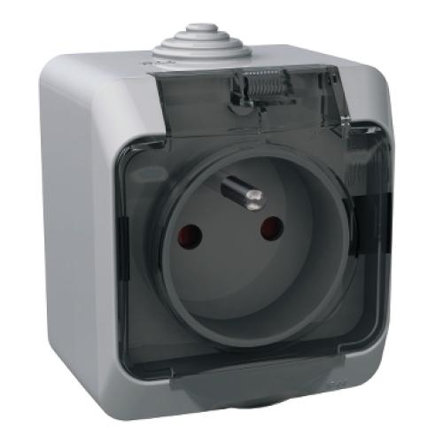 Schneider Cedar Plus zásuvka šedá čirá WDE000642