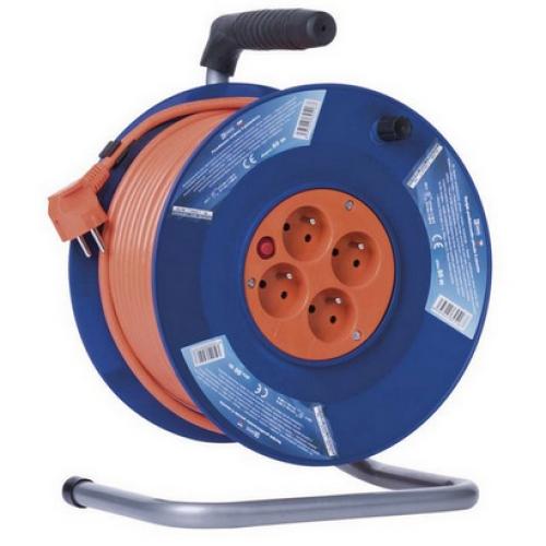 Prodlužovací kabel na bubnu 50m/4zásuvky 3x1,5mm2 oranžová EMOS P19450 1908045010