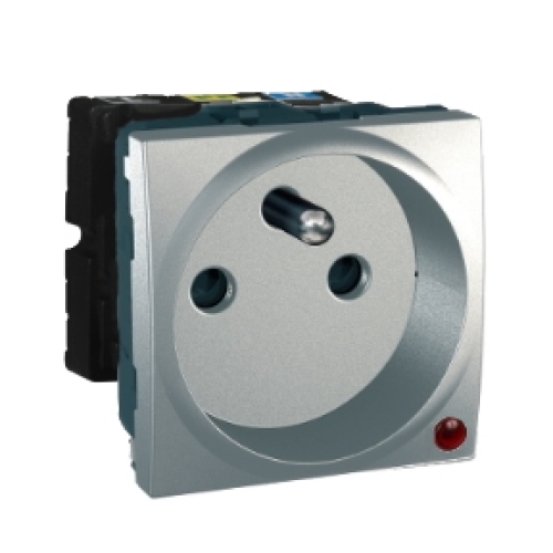 Schneider Unica Top zásuvka s přepěťovou ochranou 2moduly aluminium MGU3.039.30P