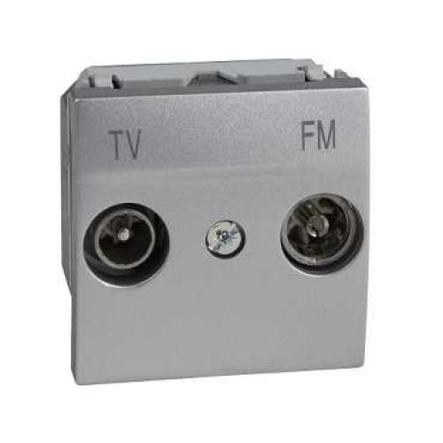 Schneider Unica Top zásuvka TV+R pruch. 2moduly aluminium MGU3.453.30
