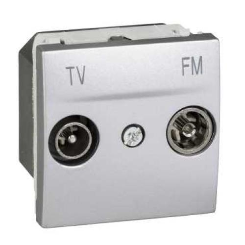 Schneider Unica Top zásuvka TV+R koncovka 2moduly aluminium MGU3.451.30