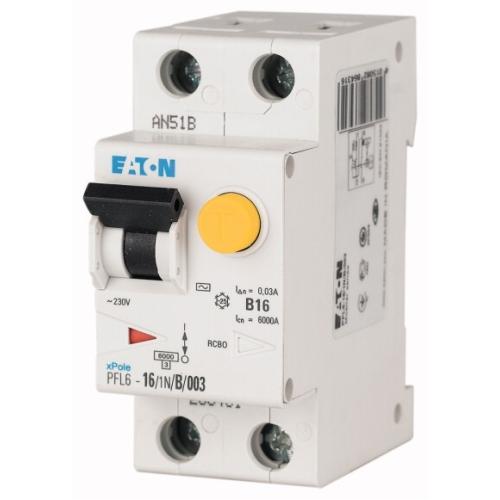 Proudový chránič s jističem EATON PFL6-10/1N/B/003 10A 30mA AC 286429
