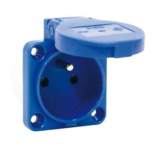 Zásuvka vestavná PCE 230V IP54 s víčkem, modrá 104-0B