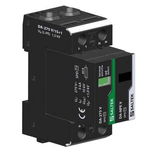 Přepěťová ochrana DA-275 V/1+1 jednofázová, zapojení 1+1, 230V/63A
