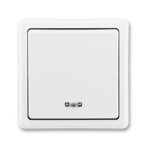 ABB Classic vypínač č.1S se signalizační doutnavkou jasně bílá 3553-21289 B1