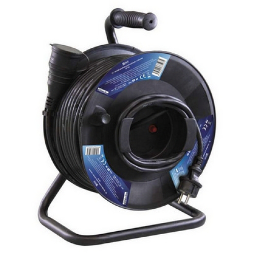 Gumový prodlužovací kabel na bubnu 50m/1zásuvka 3x1,5mm2 černá EMOS P08150 1908215000