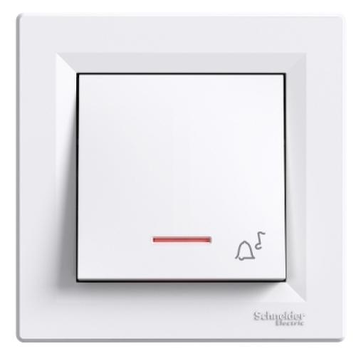 Schneider Asfora zvonkové tlačítko s orientační kontrolkou a symbolem zvonku bílý EPH1700121