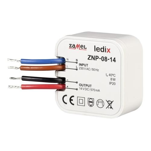 Napájecí zdroj do krabice pro LED svítidla 14VDC 8W ZNP-08-14