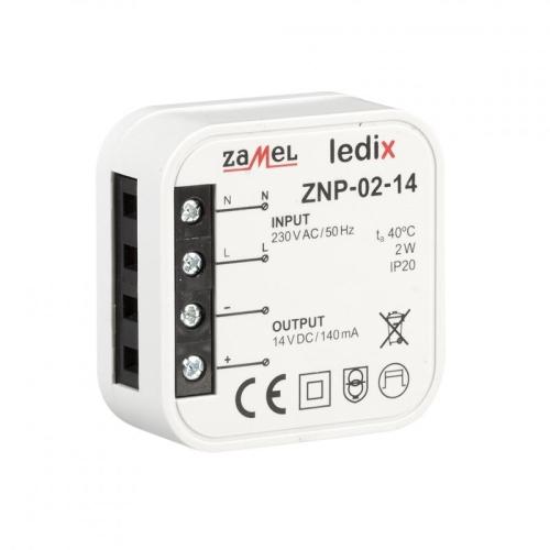 Napájecí zdroj do krabice pro LED svítidla 14VDC 2W ZNP-02-14