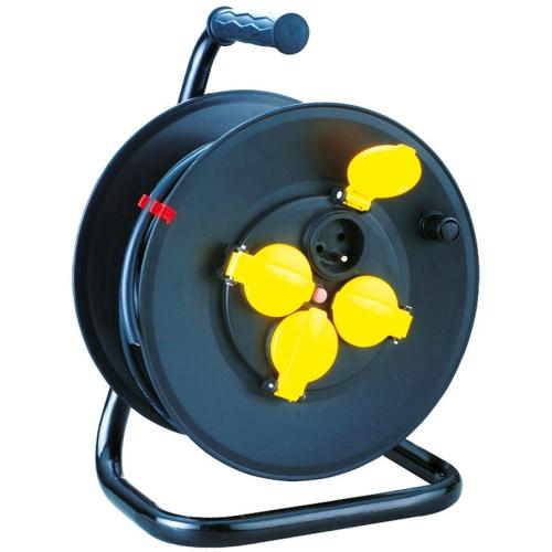 Gumový prodlužovací kabel na bubnu 50m/4zásuvka 3x1,5 černá 900.1051F
