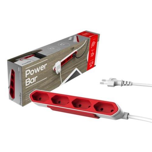 POWERCUBE POWERBAR Prodlužovací přívod 4Z/1,5M červená