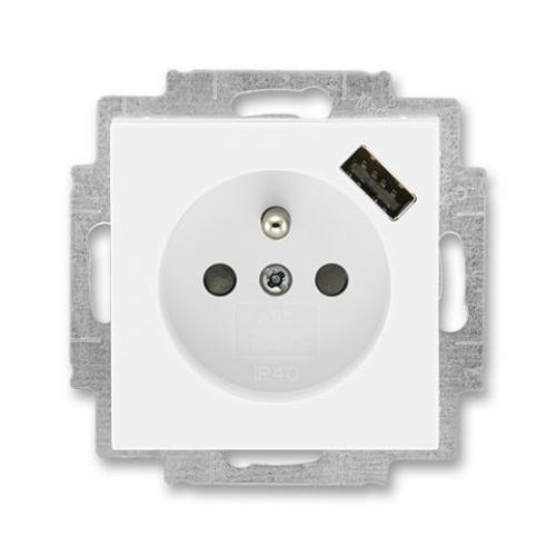 ABB Levit zásuvka bílá/bílá 5569H-A02357 03 s USB nabíjením