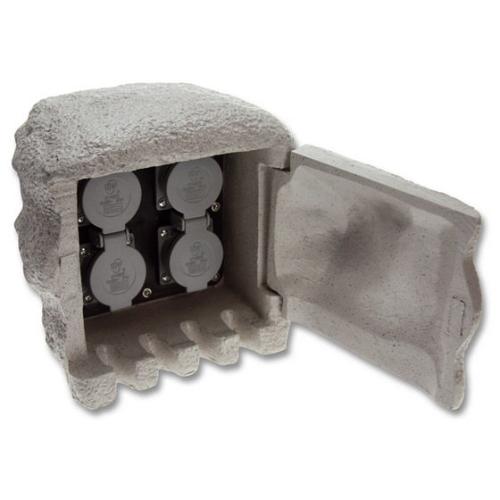 Zahradní zásuvkový sloupek/kámen Ecolite STONE 4 šedá 4x zásuvka XSTA-224G