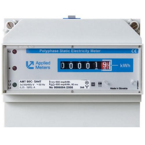 Elektroměr AMT B0C SA4T 5-65 A přímé třífázové měření 0,25 - 65 A úředně ověřený CZ