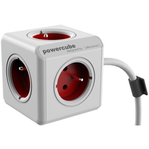 POWERCUBE EXTENDED - 5 x zásuvka + 3,0 přívodní kabel - červená