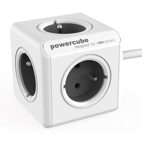 POWERCUBE EXTENDED - 5 x zásuvka + 1,5m prodlužovací kabel - šedá
