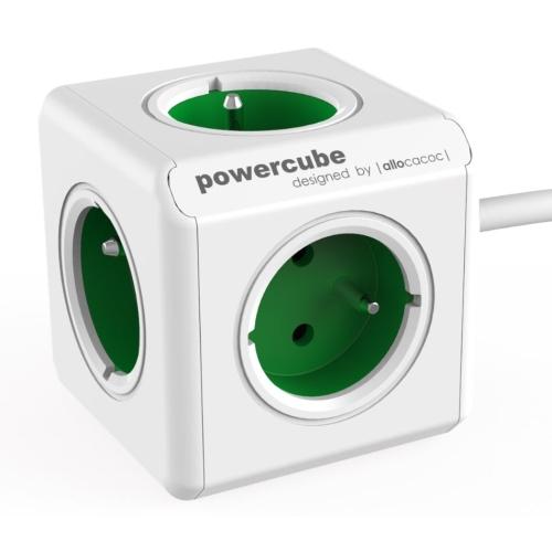 POWERCUBE EXTENDED - 5 x zásuvka + 1,5m přívodní kabel - zelená