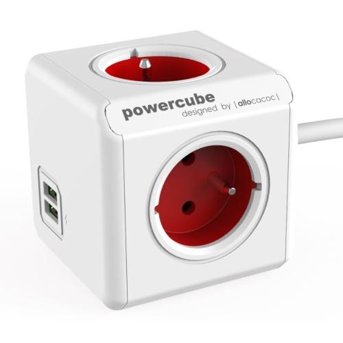 POWERCUBE EXTENDED USB 4X230V + USB + 1,5m prodlužovací kabel červená