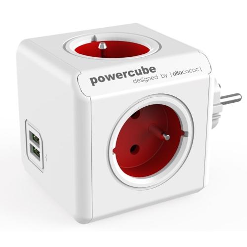 POWERCUBE ORIGINAL USB 4X230V + USB červená
