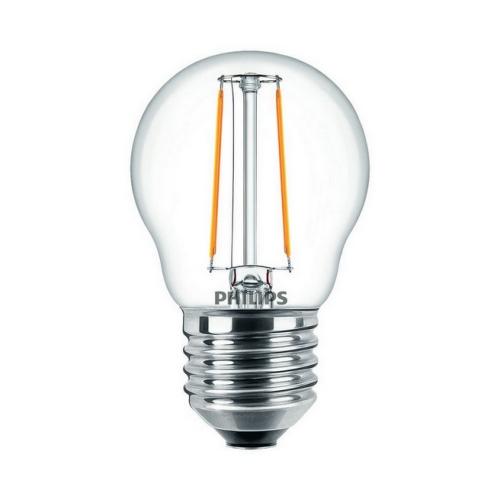 LED žárovka E27 Philips Filament čirá P45 2W (25W) teplá bílá (2000K)