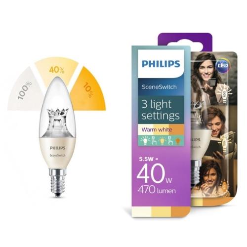 LED žárovka E14 Philips SceneSwitch B38 5,5W (40W) teplá bílá (2700-2500-2200K), svíčka