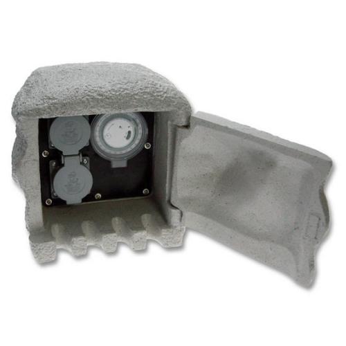 Zahradní zásuvkový sloupek/kámen Ecolite STONE 2 šedá 2x zásuvka + časovač XSTA-222GT