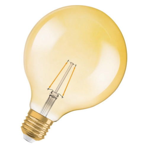 LED žárovka Vintage 1906 E27 Osram 2,5W (21W) teplá bílá (2400K) RF Filament Gold Globe125