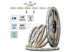 LED pásek McLED SMD3528 studená bílá (6000K) 9,6W/m 12V IP20 8mm 120LED/m ML-121.230.60.2