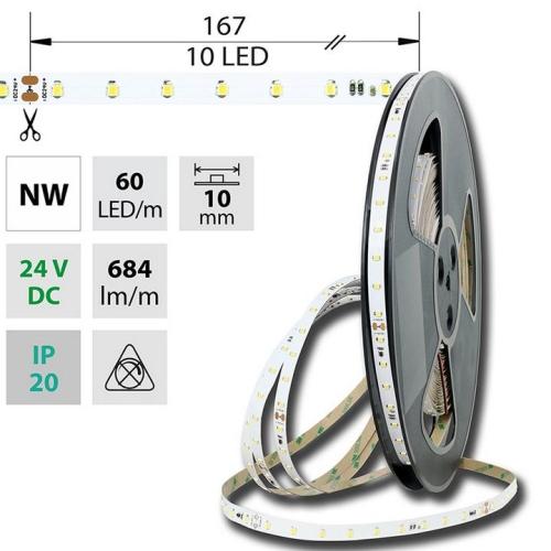 LED pásek McLED 24V neutrální bílá š=10mm IP20 6,5W/m 60LED/m SMD2835 ML-126.800.60.8 (20m)