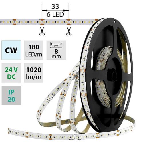 LED pásek McLED SMD2216 12W/m 24V IP20 8mm 180LED/m ML-126.735.60.0