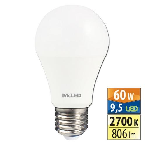 LED žárovka E27 McLED 9,5W (60W) teplá bílá (2700K) ML-321.069.87.0