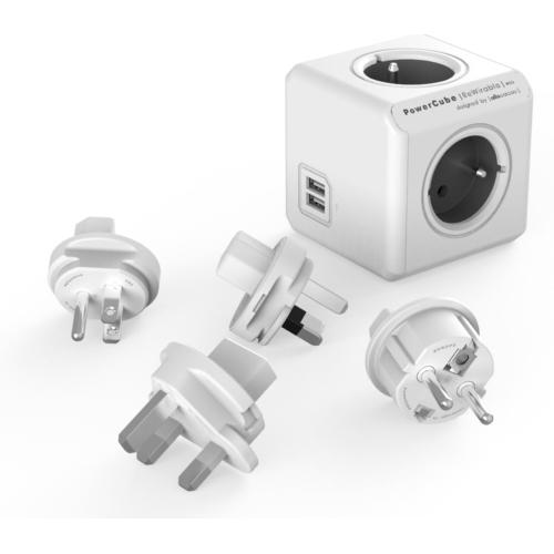 POWERCUBE REWIRABLE USB + TP šedá + cestovní adaptéry/redukce