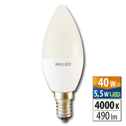 LED žárovka E14 McLED 5,5W (40W) neutrální bílá (4000K) svíčka ML-323.022.99.0