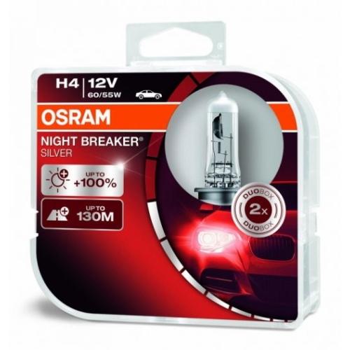 Autožárovka Osram Night Breaker Silver H4 64193NBS-HCB 60/55W P43t 12V (v balení 2ks)
