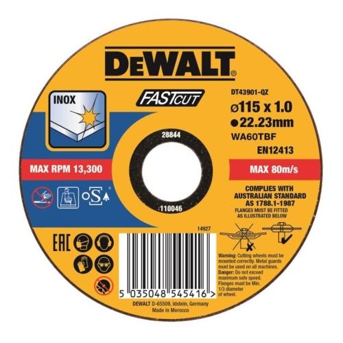 Levně Kotouč řezný na nerez 115x22,2x1,0 Fastcut Dewalt DT43901