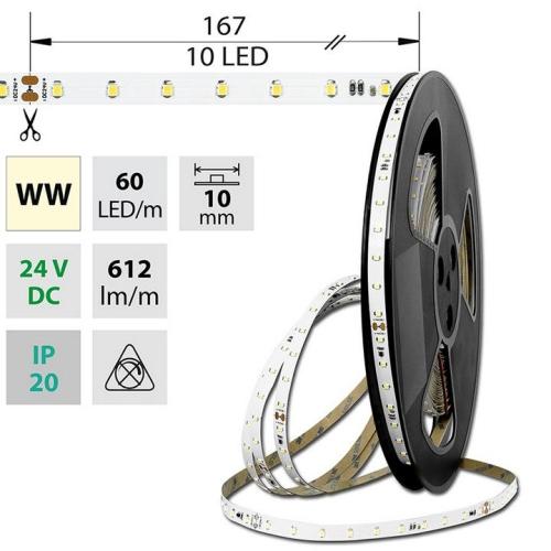 LED pásek McLED 24V teplá bílá š=10mm IP20 6,5W/m 60LED/m SMD2835 ML-126.799.60.8