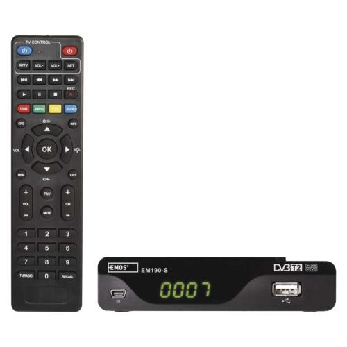 Set-top box EMOS EM190-S HD HEVC H265 (DVB-T2) J6014 s externím čidlem