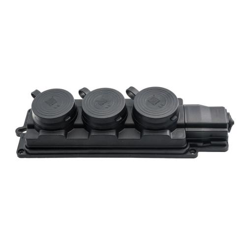 Zásuvka gumová Malpro 3-násobná 16A IP44 černá D.3159M/3